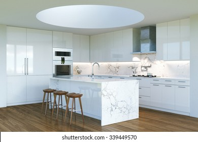New Contemporary White Kitchen Interior with round second light . 3D render