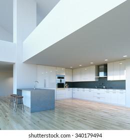 New decorated contemporary white Kitchen in luxury big interior . 3D render