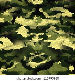 New Design of 3D Green digital camouflage seamless pattern.