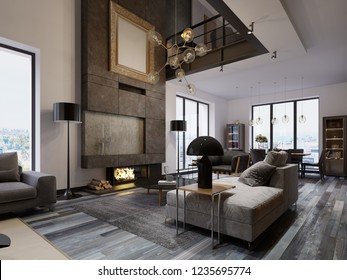 New design living room with a large fireplace to the ceiling in a loft style with sofas, an armchair and a dining table. Large windows and second level. 3d rendering