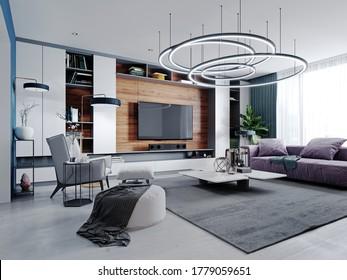 Neues Design des mehrfarbigen Wohnzimmers in zeitgenössischem Stil. Violette Möbel, weiße und schwarze Schränke und Regale, blaue Wände und Holzplatten. 3D-Darstellung.