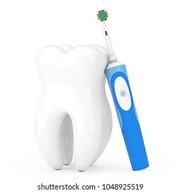 New Electric Toothbrush on a Charge Stand near Big White Tooth on a white background. 3d Rendering