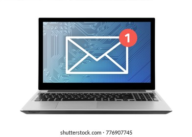 New email graphic illustration on laptop isolated on white background with clipping path