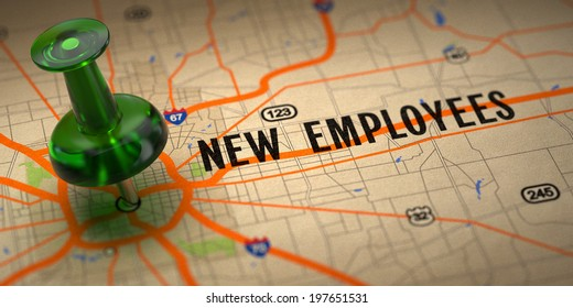 New Employees Concept - Green Pushpin on a Map Background with Selective Focus.