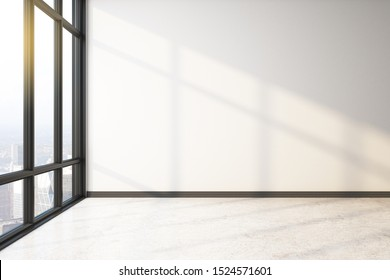 New empty spacious interior with panoramic city view, copy space and sunlight on concrete floor. 3D Rendering