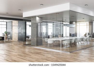 Nuevo interior de oficina de hormigón de vidrio con vistas a la ciudad, luz del día, muebles y equipamiento de parqué. Representación 3D