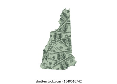 New Hampshire State Map and Money Concept, Hundred Dollar Bills