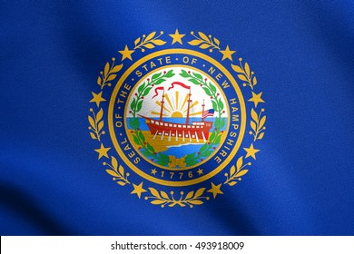 New Hampshirite official flag, symbol. American patriotic element. USA banner. United States of America background. Flag of the US state of New Hampshire waving in wind with detailed fabric texture