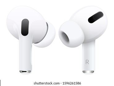 New headphones in white color view from two sides on a light background. 3D illustration
