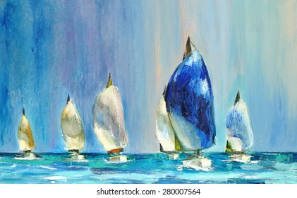 New Hope, Yachts sailing regatta. Oil on canvas