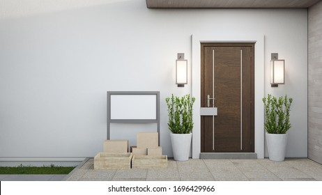 New house with wooden door and empty white wall. 3d rendering of blank sign on patio in modern home.