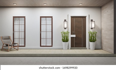New house with wooden door and empty white signage. 3d rendering of large patio in modern home.
