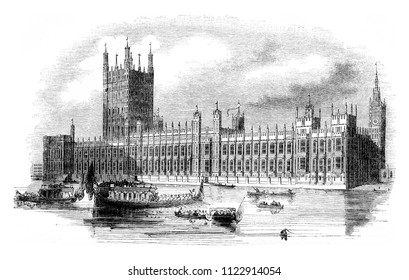 The new Houses of British Parliament, vintage engraved illustration. Magasin Pittoresque 1844.