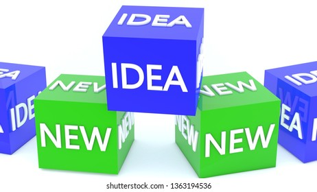 New Idea concept on cubes in green and  blue colors.3d illustration