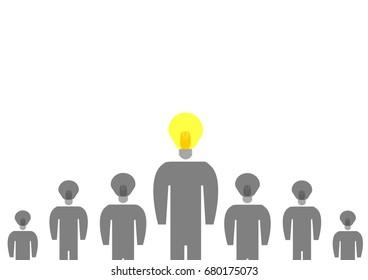 New idea concept,Create idea , light blub people isolated on white background