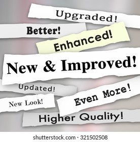 New and Improved newspaper headlines or announcements on a better product upgrade or update