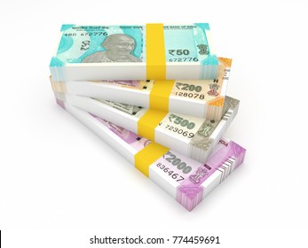 New Indian Currencies Isolated on White - 3D Rendered Image
