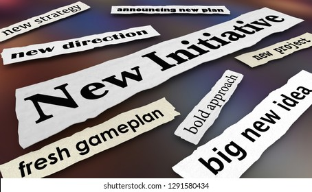 New Initiative Plan Direction Goal Newspaper Headlines 3d Illustration