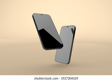 New iPhone 12 black on summer background. 3D Render