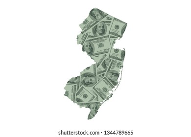 New Jersey Map and Money Concept, Hundred Dollar Bills
