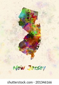 New Jersey US state poster in watercolor background
