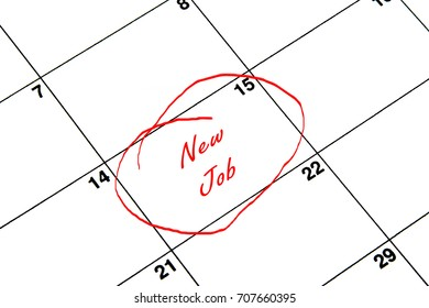 New Job Circled on A Calendar in Red