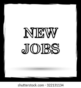 New jobs icon. Internet button on white background. Outline design imitating paintbrush. - Shutterstock ID 322131134