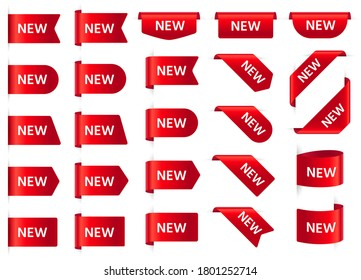New labels. Promotion red curved paper tapes, new price tag. Shopping, newest product red ribbon banner, 3d realistic silk scarlet badges, corners, bookmarks  illustration template set.