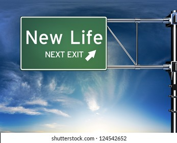 New life next exit, sign depicting a change in life style ahead