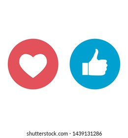 New like and love icons of Empathetic Emoji Reactions, printed on paper. social media Illustration