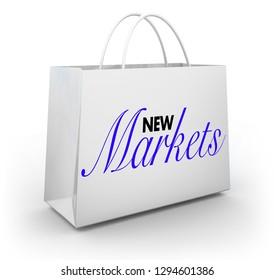 New Markets Emerging Business Industries Shopping Bag 3d Illustration