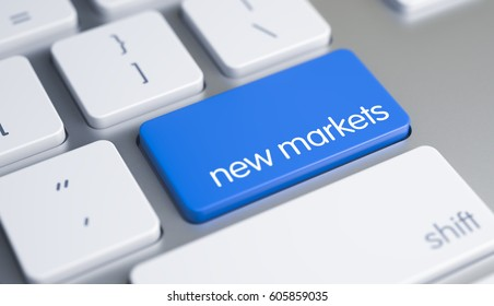 New Markets - Text on the Blue Keyboard Button. 3D.