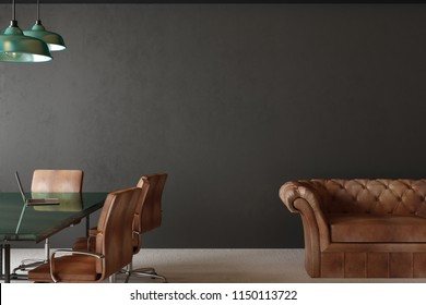 New meeting room interior with furniture, concrete wall and lamps. 3D Rendering