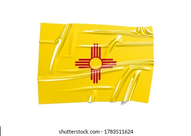 New Mexic state foil flag illustration on white bakground. Horizontal glossy sticker of USA national symbol. 3d Wavy texture
