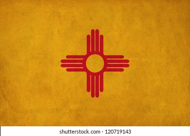 New Mexico flag drawing ,grunge and retro flag series