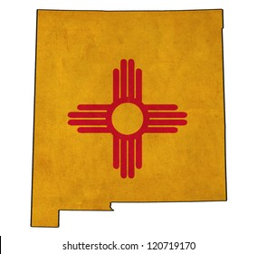 New Mexico map on New Mexico flag drawing ,grunge and retro flag series