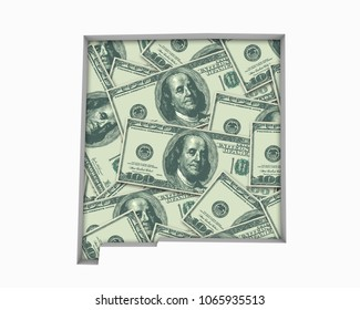New Mexico NM Money Map Cash Economy Dollars 3d Illustration