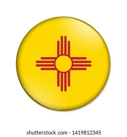 New Mexico state flag of the USA badge button isolated over white 3D Illustration