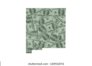 New Mexico State Map and Money Concept, Hundred Dollar Bills