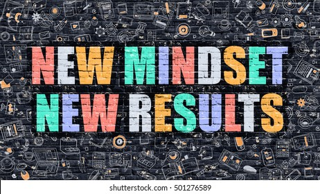 New Mindset New Results Concept. Modern Illustration. Multicolor New Mindset New Results Drawn on Dark Brick Wall. Doodle Icons. Doodle Style of New Mindset New Results Concept.