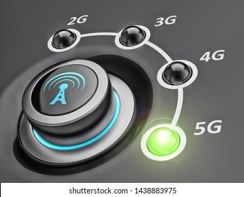 New mobile cellular network telecommunication technology concept, switch button with telecommunication standards and green led on 5g, 3d illustration