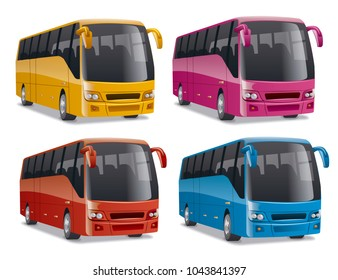 new modern comfortable city buses on the road, no people, vector illustration in different colors