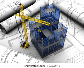 New modern project of building with crane