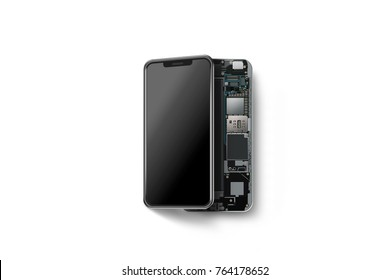 New modern smart phone with opened shell isolated, chip, motherboard, processor, cpu and details, 3d rendering. Smartphone inside. Cellphone chipset constitution. Telephone scecification disassembled