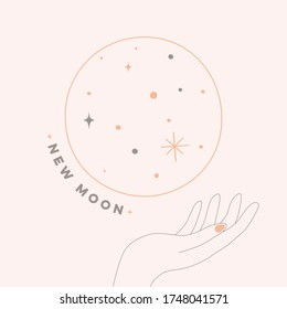 New moon minimalistic pastelcolor pink