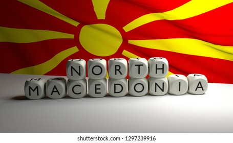 New name for Macedonia: Republic of North Macedonia, after deal is made with Greece. 3D render illustration of words NORTH MACEDONIA written on dices with Macedonian flag waving in background.