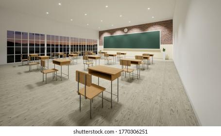 3D-Darstellung des neuen normalen Klassenraums und Abstände von Tischen und Stühlen, um die Ausbreitung des Covid-19-Virus auf Holzfußboden und leerer grüner Bretterhintergrund zu verhindern.