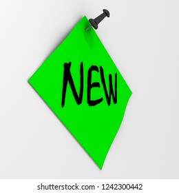 New. Note paper with pushpin. Green sheet for notes fastened on a white wall with black pushpin with word NEW. 3D Illustration