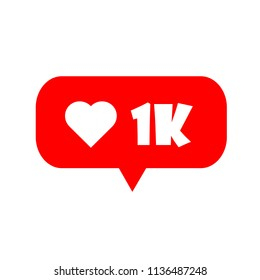 New notification Likes 1K social network. 1000 likes symbol. Vector illustration. EPS 10