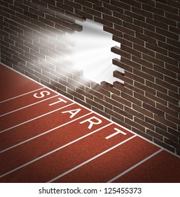 New opportunities and promising business openings at the start of a journey with track and field racing lines and a brick wall with a broken hole glowing with opportunity and success inside.